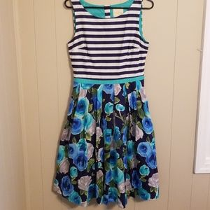 Modcloth Navy Blue Stripes and Floral Dress Medium
